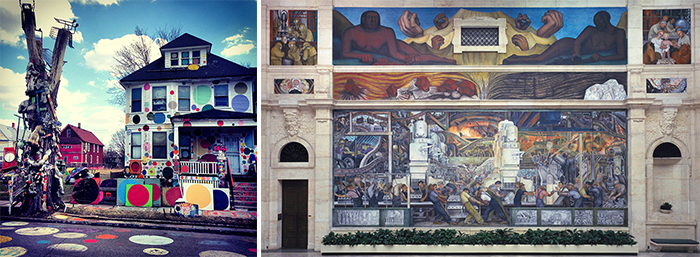 (L) Tyree Guyton's People's House (R) Diego Rivera's Detroit Industry (North Wall)